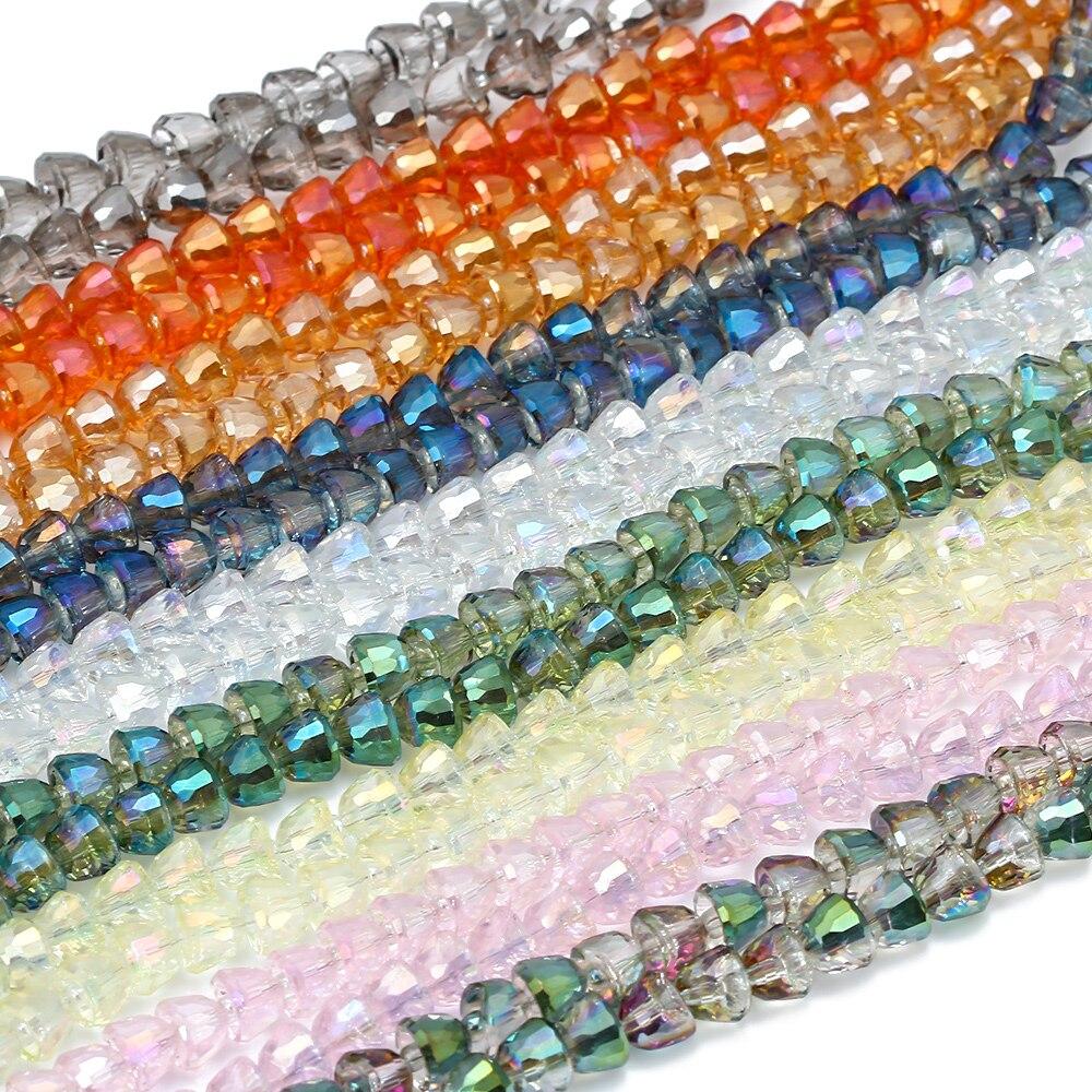 MEIBEADS 20 unids/bolsa cuentas de cristal con forma de campanas 8*6mm DIY accesorios de joyería para hacer collar pulsera hallazgos cuentas espaciadoras GS07