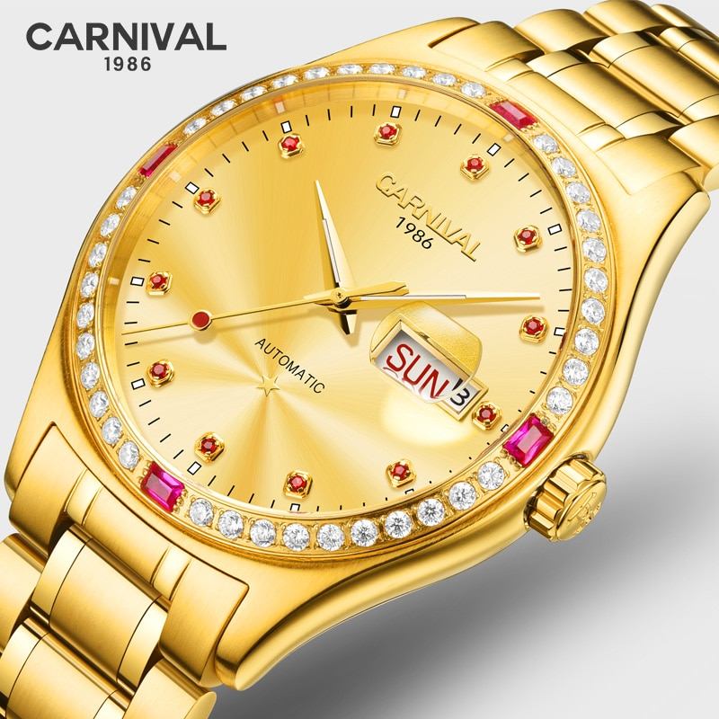 Reloj Automático de lujo de oro MIYOTA, marca superior de Suiza, Reloj esqueleto de carnaval, Reloj de hombre de zafiro, Reloj luminoso de acero completo