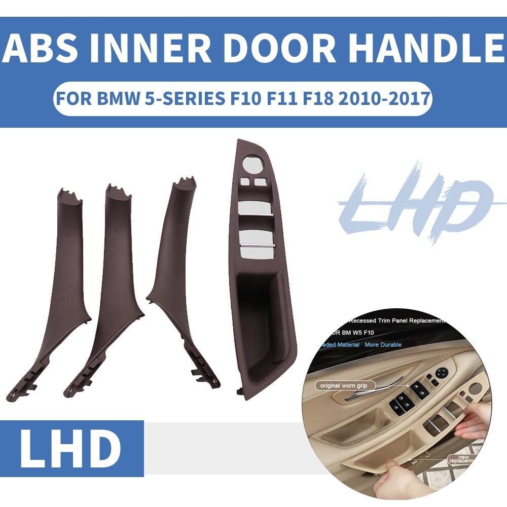 4/7 Uds La izquierda LHD para BMW serie 5 F10 F11 F18 gris manija de puerta interior de coche Panel interno cubierta embellecedora de tirar reposabrazos ABS