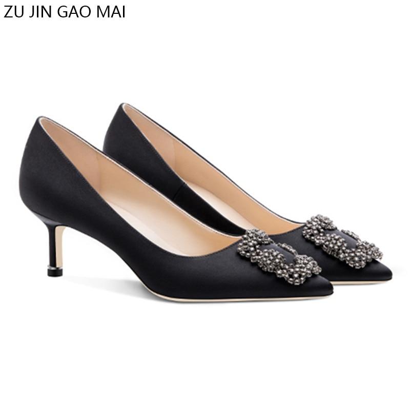 أسود الراين عالية الكعب أحذية امرأة مضخات الأساسية الساتان القماش الاصطناعي الكريستال الماس مشبك العمل موضة مثير النساء الأحذية