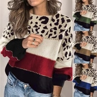 autumn winter striped sweater women loose leopard knitted pullover plus size high quality ladies fashion jumper streetwear new