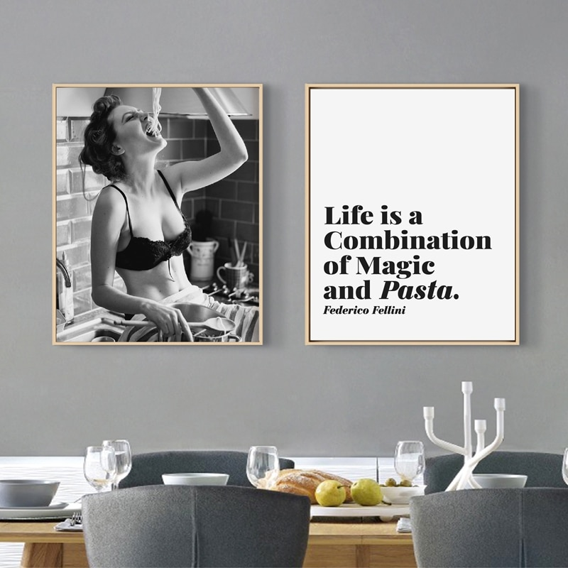 Spaghetti mujer imprimir Pasta póster para momento carbohidratos amor chica cuadro sobre lienzo para pared Foodie mujer fotografía cocina arte Decoración