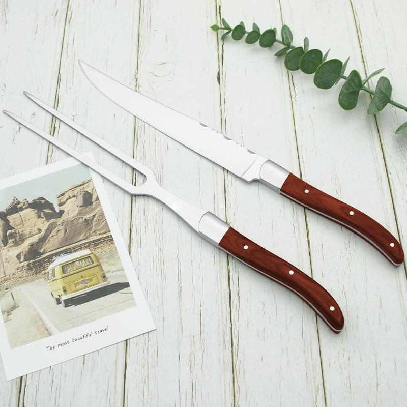 2 قطعة 11.5 ''Laguiole نحت سكين مستقيم المعادن شوكة مجموعة الفولاذ المقاوم للصدأ اليابانية ستيك السكاكين مقبض الخشب أواني المطبخ