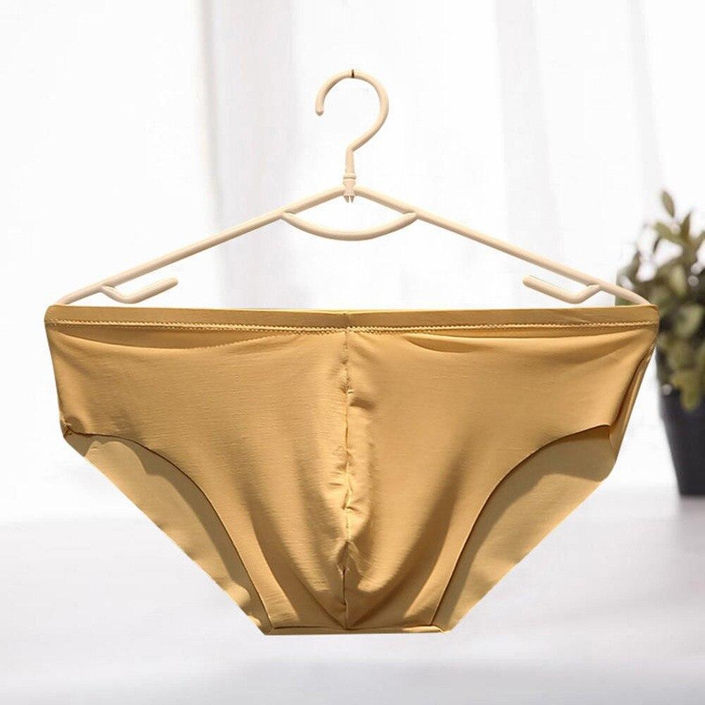 Ice Silk Men Underwear Seamless Nylon Briefs Mid Waist Ultra-thin Gay Sexy Underwear Pouch One Piece