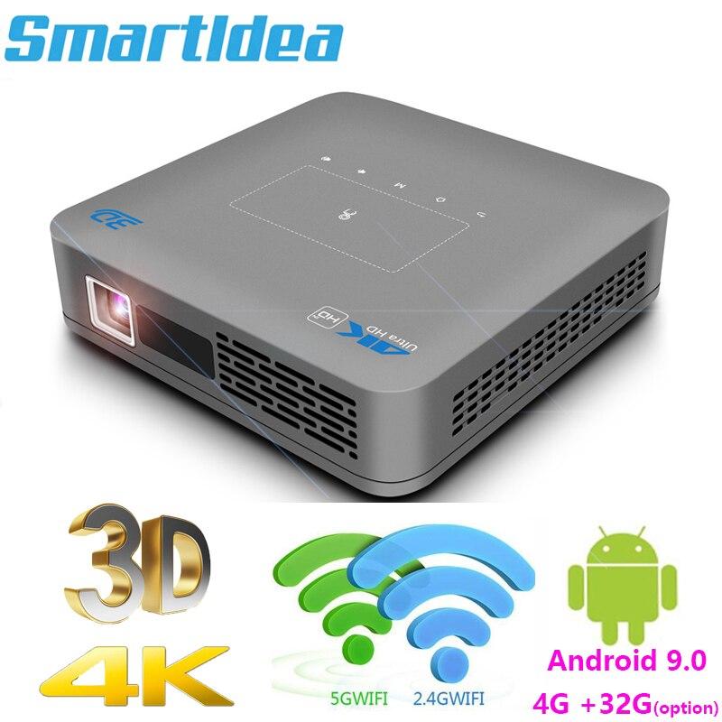 Smartldea P15 DLP 4K ثلاثية الأبعاد العارض Android9.0 4G 32G عالية السطوع النهار متعاطي المخدرات التكبير 5G واي فاي BT airplay لعبة فيديو Proyector