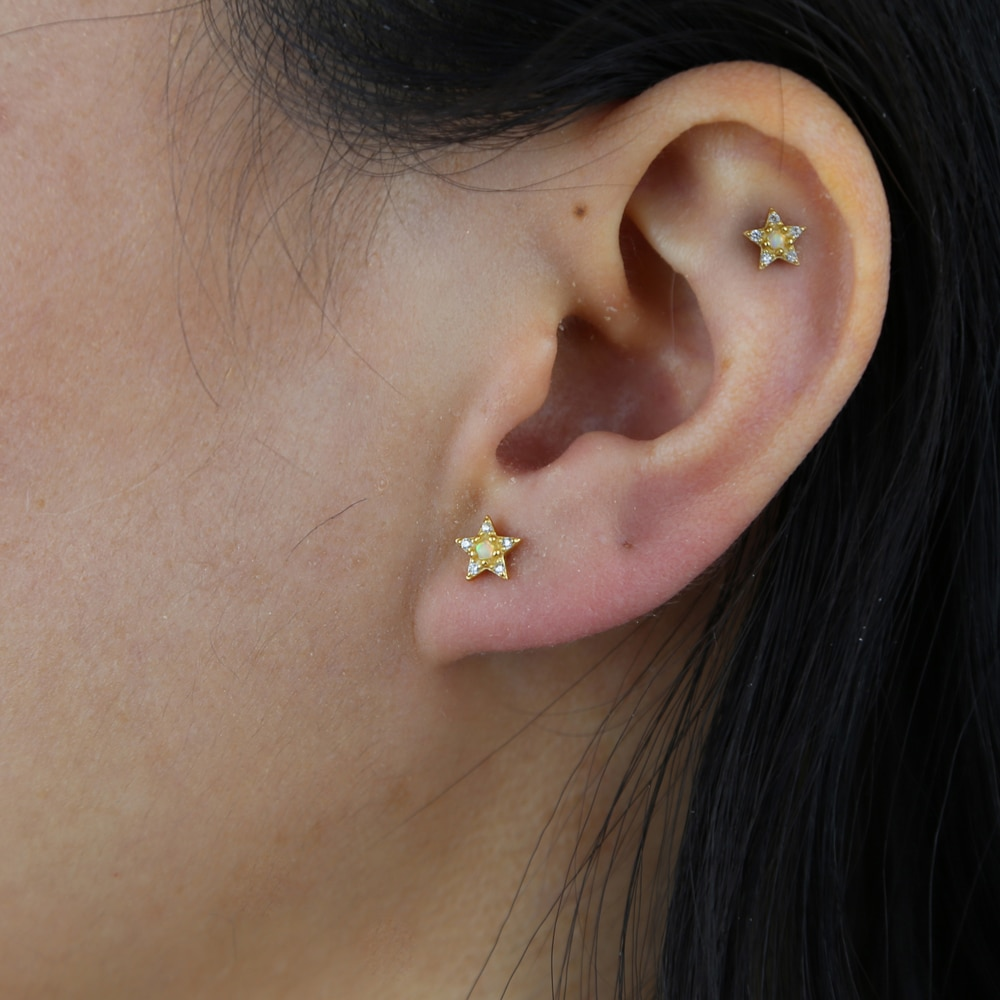 100% 925 Sterling Silver star Stud earring with White Fire Opal 5A CZ Pave Delicate Cute Mini Star Stud Earring For wedding Gift