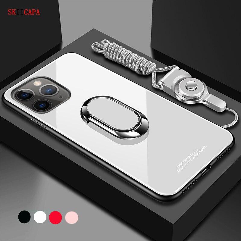 Чехол для iphone 12 pro Max 12 mini, магнитный держатель с кольцом-подставкой, чехол для телефона iphone SE 2020 6 7 8 Plus, закаленное стекло, задняя крышка