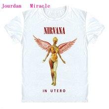 Camiseta nirvana hombre NIRVANA IN utérus ALBUM T Shirt Rock musique style NIRVANA t-shirt Vintage blanc Tee Shirt Cool Rock homme