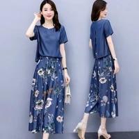 wide leg pants suit women 2021 summer the new fashion two piece set loose printing suit ladies pantskirt suit large size m 3xl