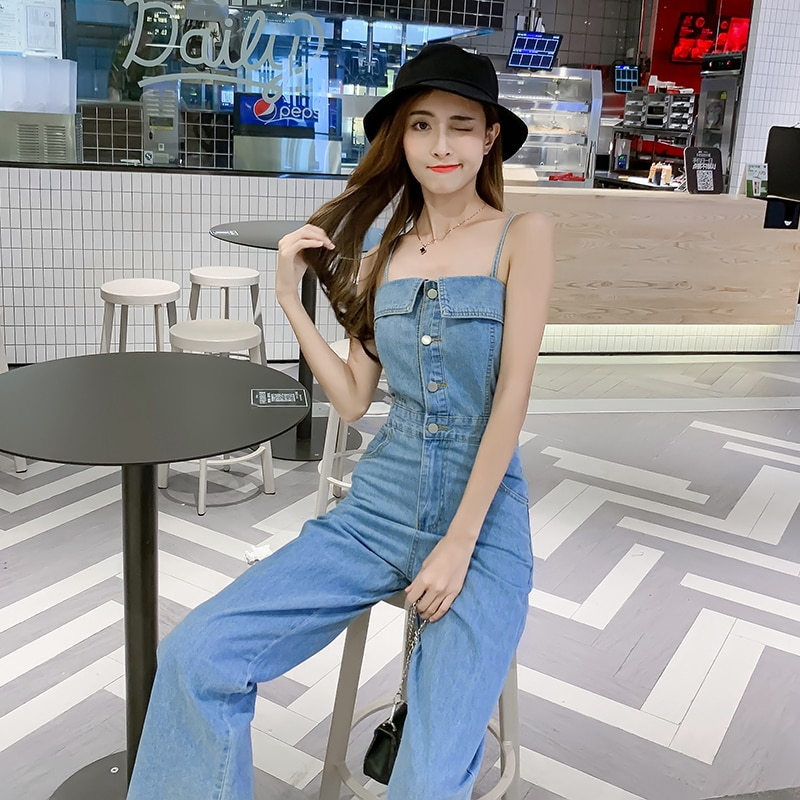 Denim Jumpsuits Rompers Overalls Women Wide Leg Jeans Blue Back Bandage Lace Up Sexy Spaghetti Strap Sleeveless Bodysuit 2020