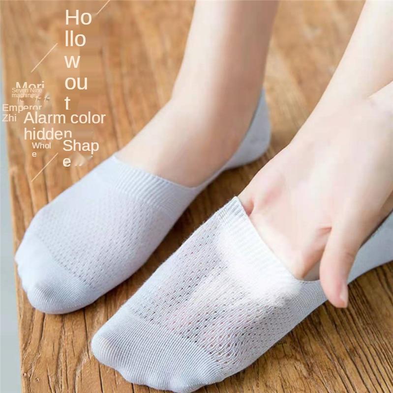 Calzini invisibili in cotone Set da donna calzini da barca in maglia antiscivolo in Silicone a bocca bassa calzini traspiranti sottili estivi pantofole 2 paia