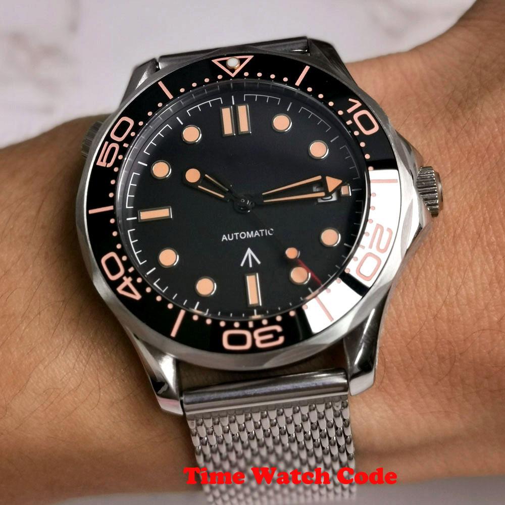 ساعة يد رجالية أوتوماتيكية ، ساعة يد ميوتا 8215 ، مؤشر التاريخ ، زجاج ياقوتي ، شبكة مضيئة ، إطار سيراميك ، 41 مللي متر