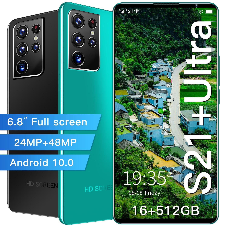 هاتف ذكي موديل S21 + ultra بشاشة 6.8 بوصة إصدار عالمي شاشة كاملة 16 جيجا بايت 512 جيجا بايت 24 ميغا بيكسل + 48 ميغا بيكسل هاتف يعمل بنظام Android10 بشريحتين