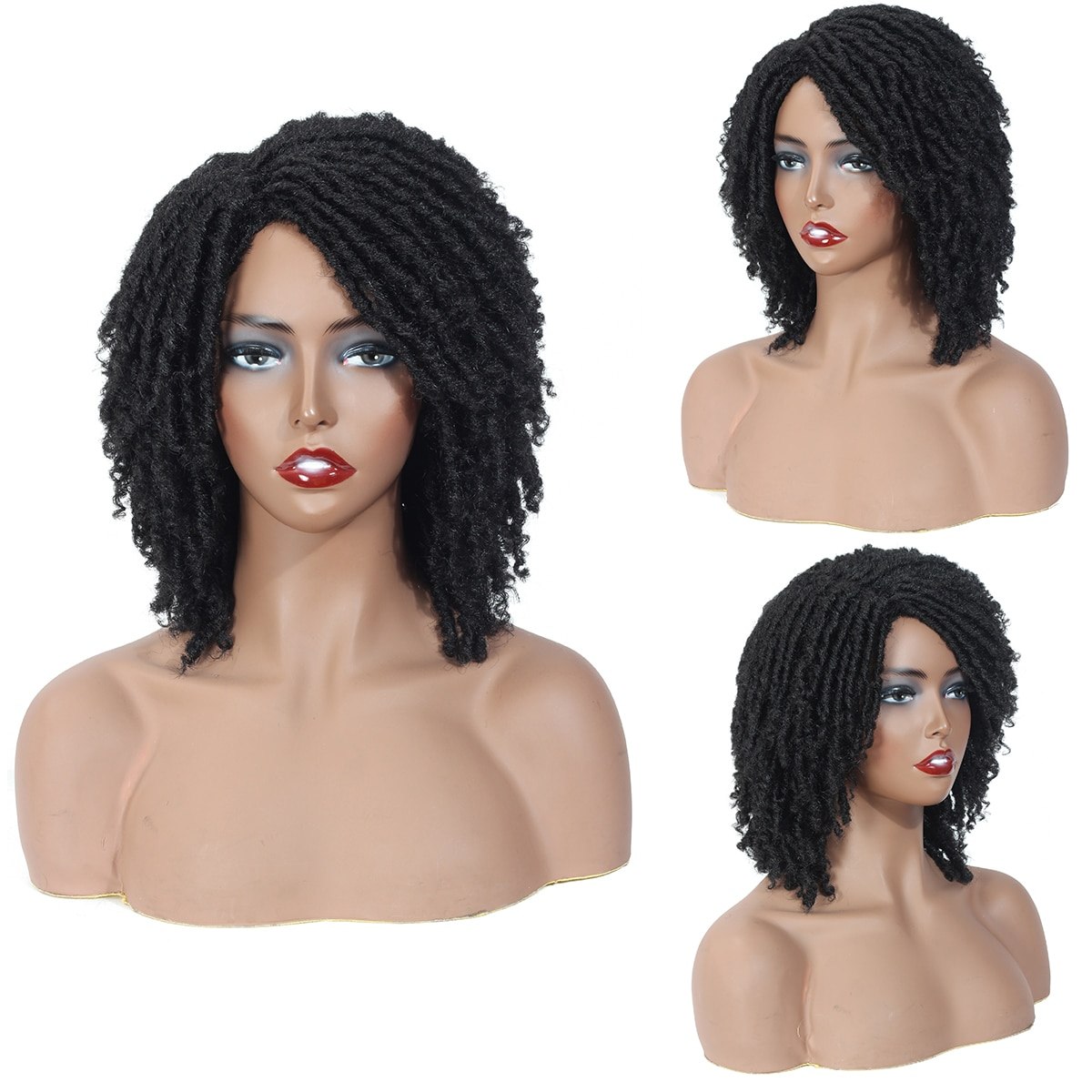 Dreadlock Wigs for Black Women and men Short Twist Wigs Soft Synthetic Wigs with Curly EndsShort Afro Wigs Dreadlocks Cheap
