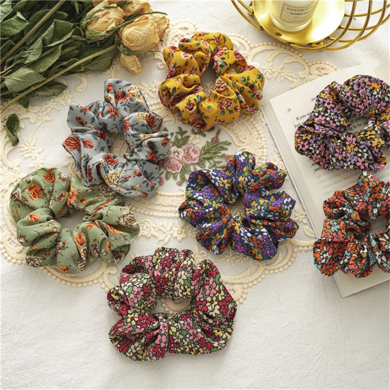 Ruoshui Woman Printed Floral Hair Ties Girls Flower Scrunchies Women Hair Accessories Headwear Ornaments Rubber Band Hair Rope