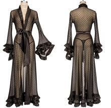 Noir femmes vêtements de nuit à manches longues Lingerie dentelle Illusion Robe pas cher peignoir Tulle vêtements de nuit nuisette Robe robes