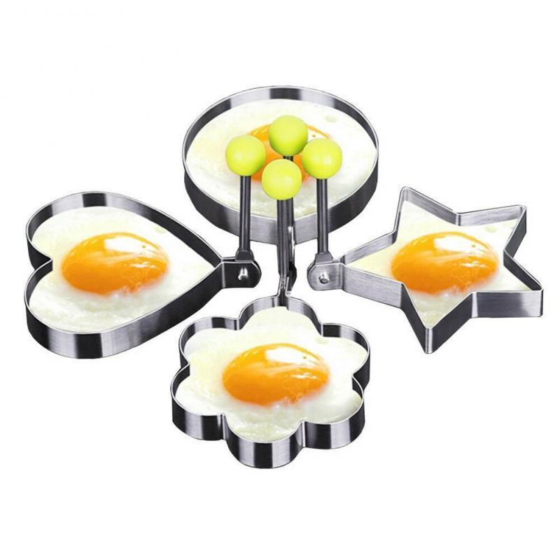 5Style Fried Egg Pancake Shaper Stainless Steel Heart Shape Omelette Mold Frying Egg Cooking Tool Breakfast Maker Kitchen Gadget