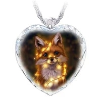 new ladies heart shaped fox pendant ladies fashionable fox heart necklace pendant crystal jewelry