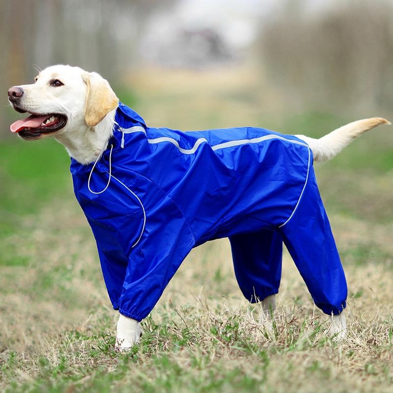 Дождевик для собак, светоотражающая водонепроницаемая одежда на молнии, комбинезон с капюшоном и высокой горловиной для маленьких больших ...