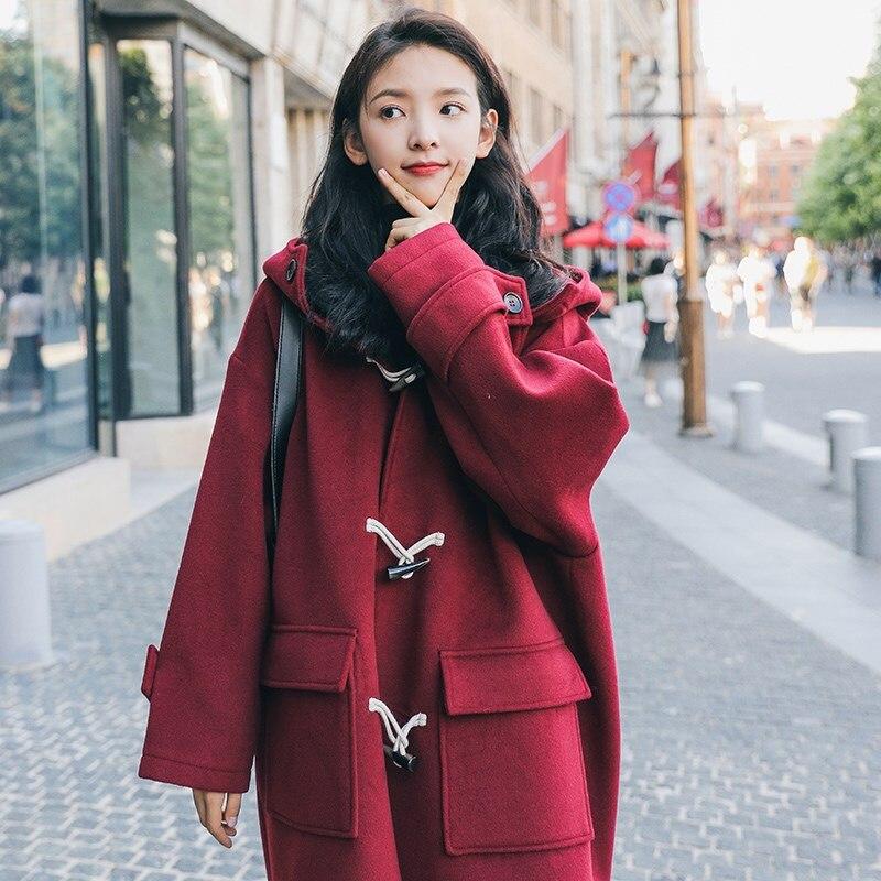 جديد Deoxdmzi موضة شتاء 2021 معطف جديد من الصوف باللون الأحمر الكوري ذو غطاء للرأس للنساء معطف طويل من الصوف بقلنسوة للطالبات