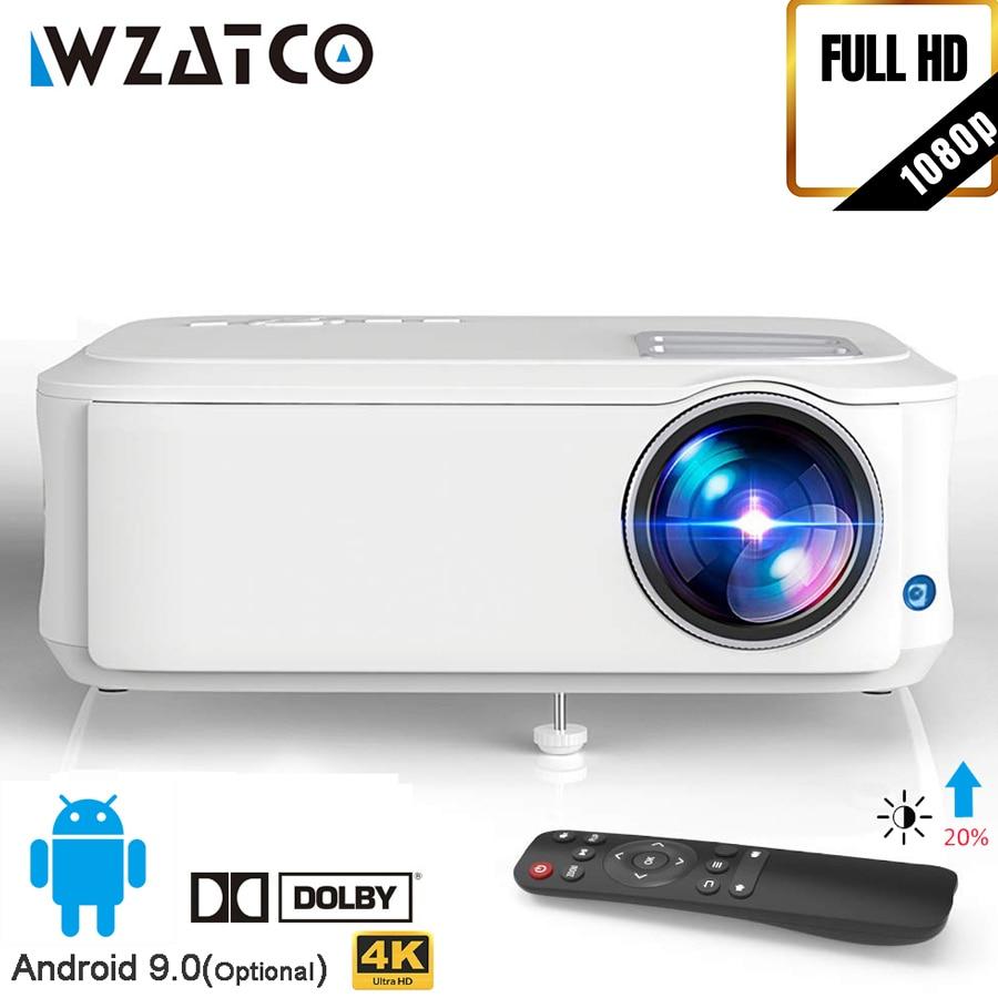 WZATCO T59 4k LED Proyector de 1920x1080P Full HD Android 9,0 Wifi inteligente de cine en casa Video Proyector portátil HDMI película Beamer