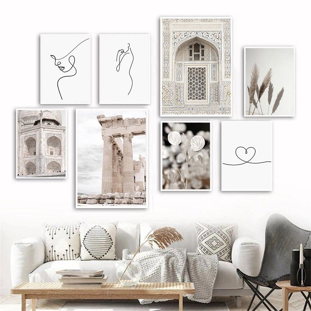 Здание мечети Марокко, мусульманская дверь, постер, абстрактная женщина, рисунок на холсте, Художественная печать, язычок, семейный Декор