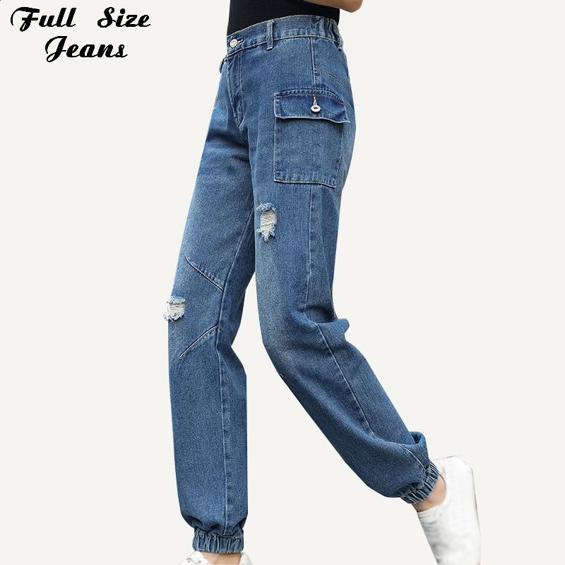 Primavera streetwear mulheres plus size namorado rasgado casual denim calças de carga 4xl 7xl cintura elástica alta corredores grande bolso jean