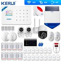 Kerui     Kit dalarme de securite domestique sans fil W18  wi-fi  GSM  controle avec application  ecran LCD  SMS  anti-cambriolage