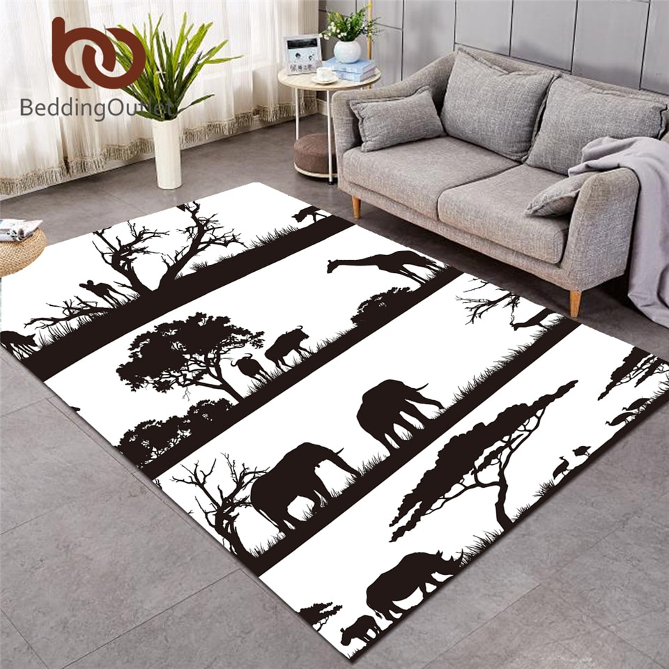 BeddingOutlet-سجادة مزخرفة على شكل فيل ، سجادة لغرفة المعيشة ، حيوانات أفريقية ، منطقة زرافة ، غزال ، حديقة حيوانات ، أبيض وأسود