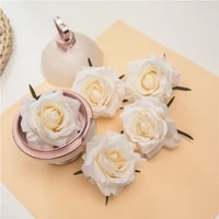 5pcs artificial silk roses flower fake roses flower faux heads diy wedding party flower wall home decor scrapbook accessories