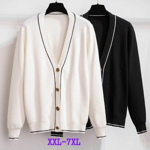 Oversize 3XL-7XL Knitted Cardigan Jacket Women Spring Autumn Long Sleeve Single-breasted V-neck Loose Sweaters Plus Size KW365