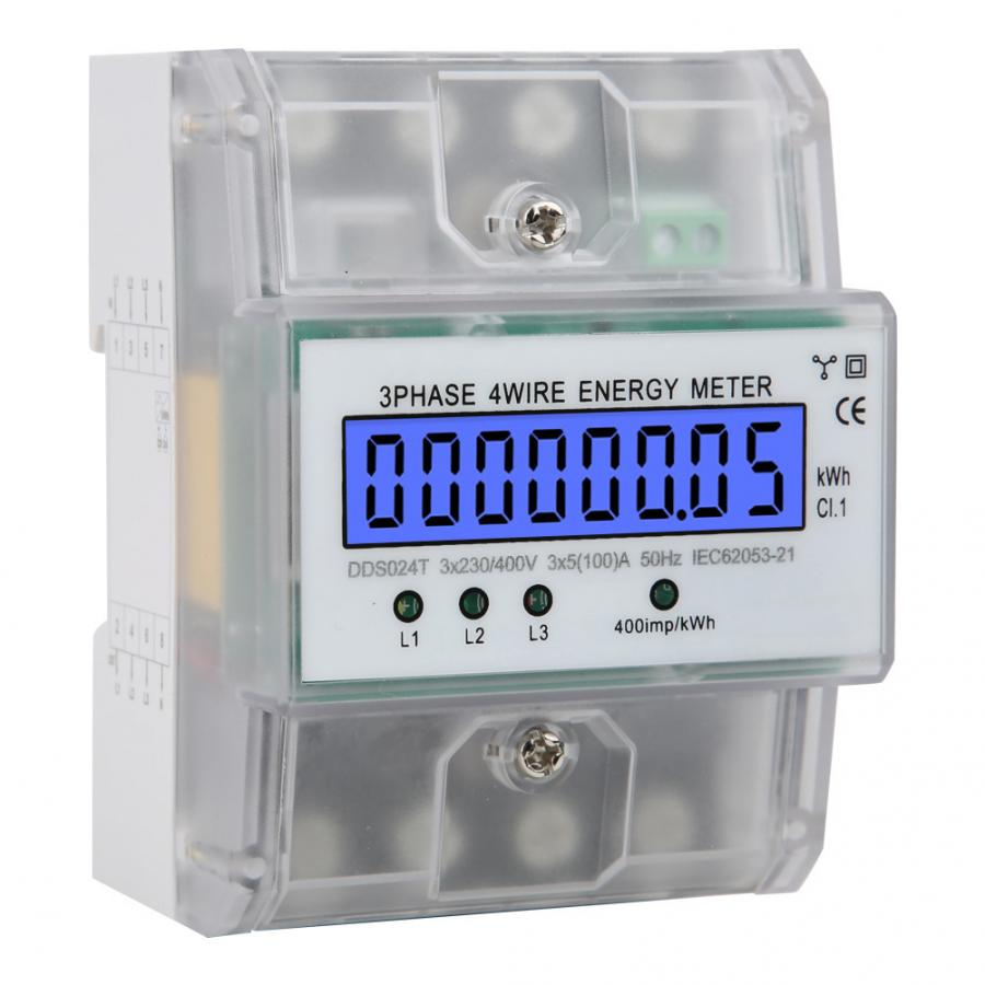 380V 80A Energie Meter Elektronische Watt Power Energy LCD Digital Display 3 Phase 4 Draht Wattmeter Mit Transparente Abdeckung