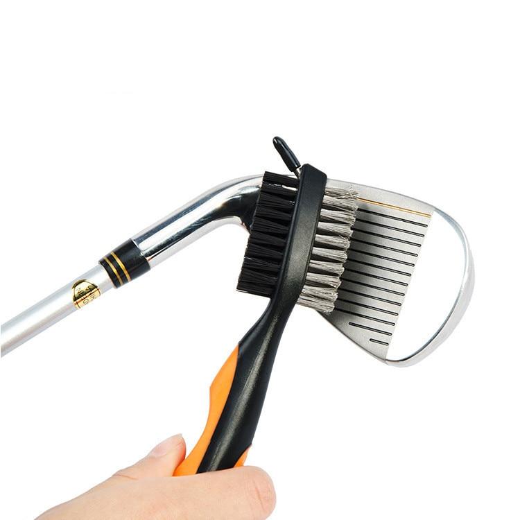 Cepillo para palos de Golf de 8 colores, doble lado, latón para Golf + nailon, limpiador de ranura para la cabeza del palo de Golf, cepillo con llavero para entrenamiento de golf