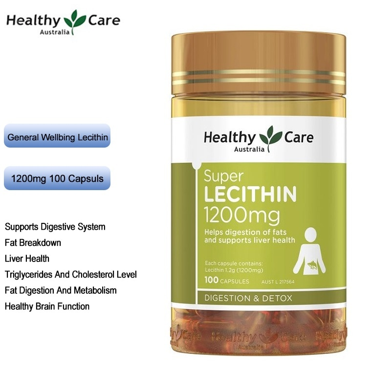 Healthy Care Soybeans Lecithin 1200mg 100Capsules Fish Oil Partner Digestive System Liver Health Fat Metabolism Brain Function