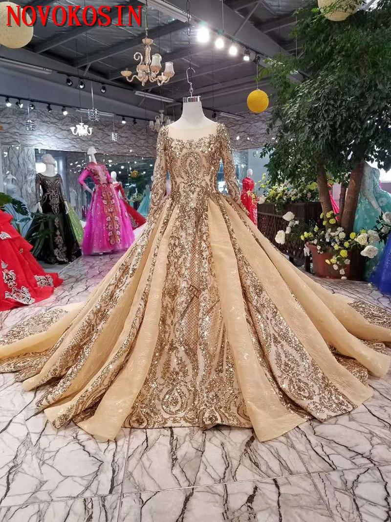 فستان زفاف فاخر من الدانتيل المطرز 2020 ، فستان زفاف مع ذيل من الحديد الزهر ، أكمام طويلة وظهر على شكل V ، عينة