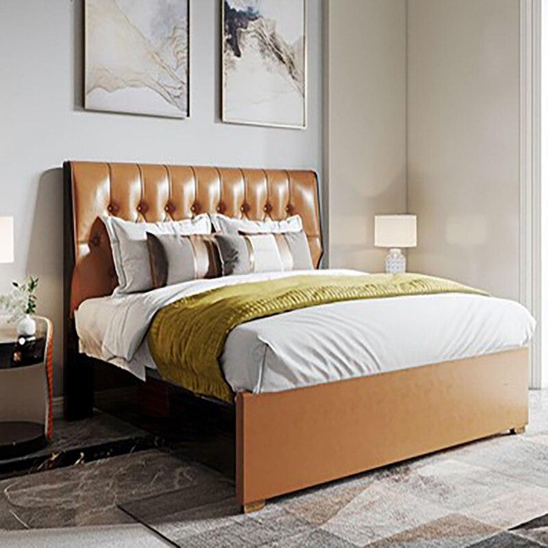 النمط الإيطالي ضوء الفاخرة الجلود السرير غرفة نوم رئيسية الحديثة النمط الأمريكي البرتقالي نوم الزفاف سرير مزدوج السرير المنجد