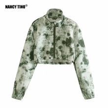NANCY TINO 2021 Spring New Style Ladies Stand-Up Collar Tie-Dye Short Long-Sleeved Cotton Jacket