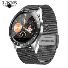 LIGE bracelet en acier noir montre intelligente hommes fréquence cardiaque pression artérielle Fitness tracker Sport montre étanche Smartwatch pour iPhone + boîte