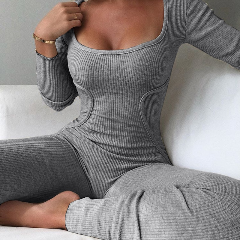 2021 Female Sexy Pajamas Pour Pants Clothing Low Neck Long Sleeve Ribb Outfits Ladies Rompers Womens Bodycon One Piece Jumpsuits