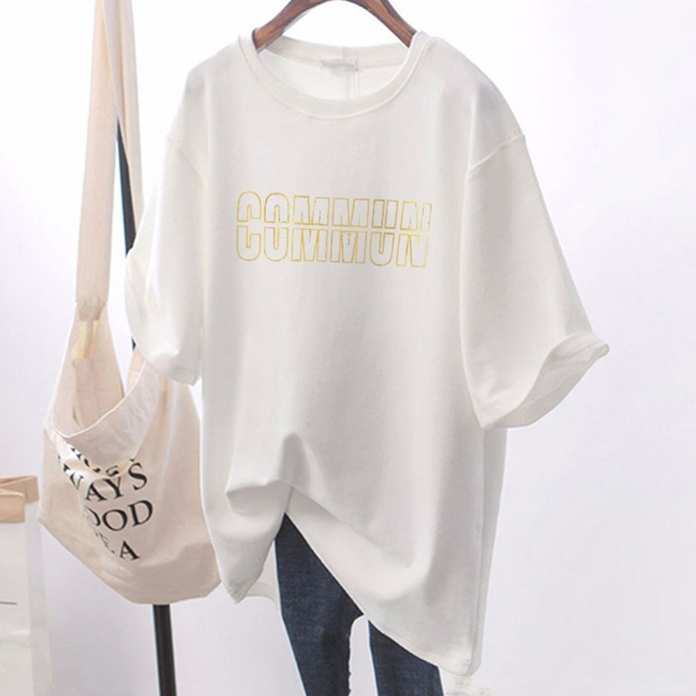 T-Shirt 2021 New Style  Short-sleeved Alphabet Medium-long Round Neck Women's Fashion Loosely Wearable Summer T-shirt