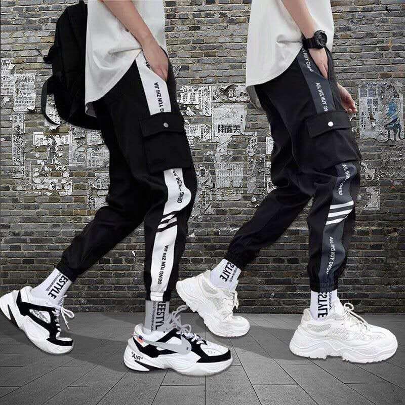2020 Men Hip Hop Streetwear Splice Joggers Pant Fashion Male Casual Cargo Pant Trousers High Street Elastic Waist Man Harem Pant