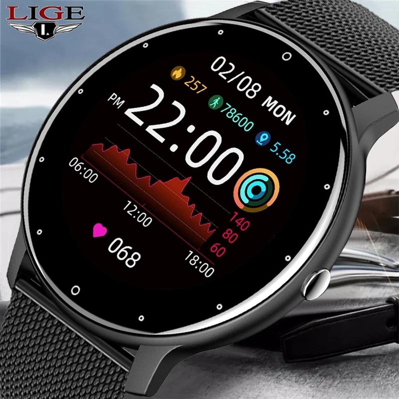 LIGE 2021 New Smart Watch Men Full Touch Screen Sport Fitness Watch Waterproof Bluetooth Call For An