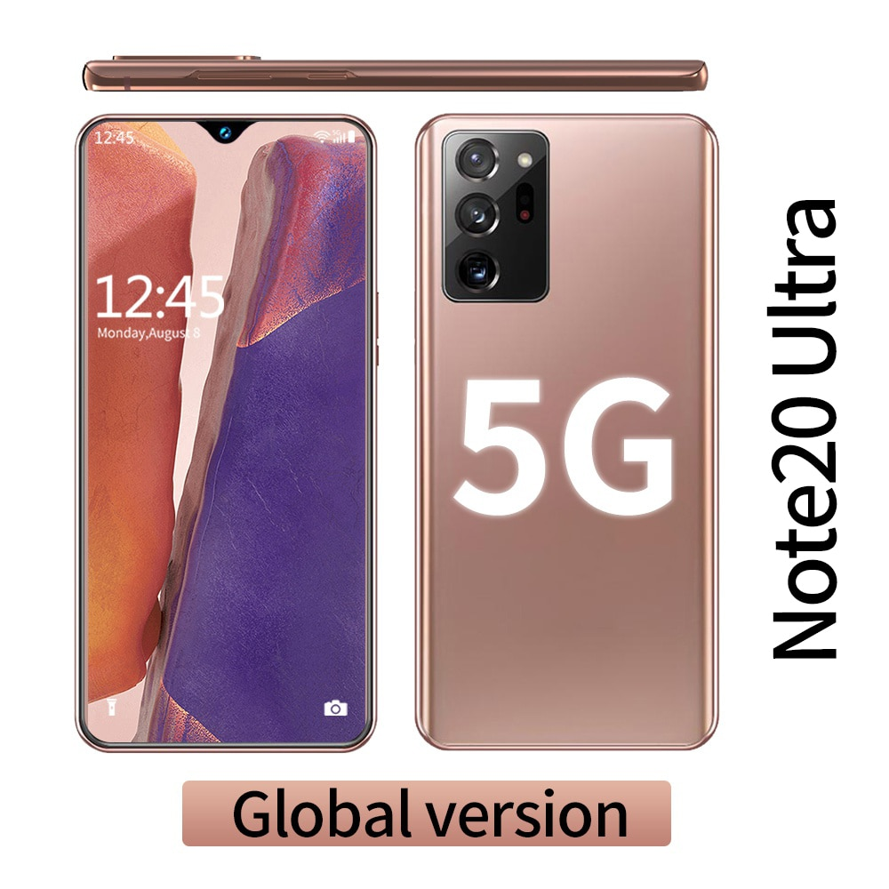 Note20 Ultra 5G Smartphone 12GB RAM + 512GB ROM 6.6 inch Screen 16+32MP with Support Face/Fingerprint Recognition Unlocked