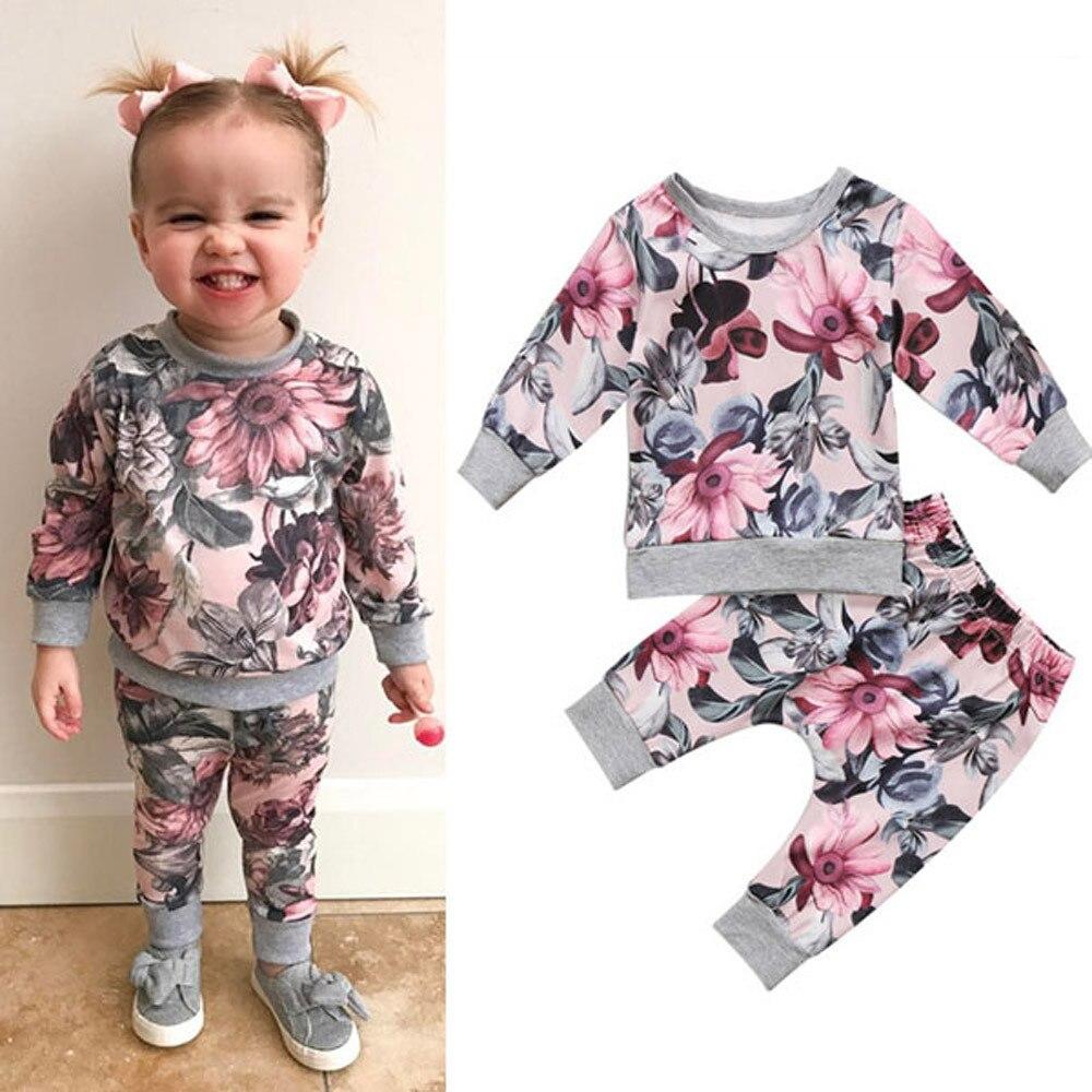 Newborn Toddler dress Baby Girls Boys Clothes Coat T-shirt Tops+Floral Pants Leggings Outfits Set roupa de bebe terno 6M-24M
