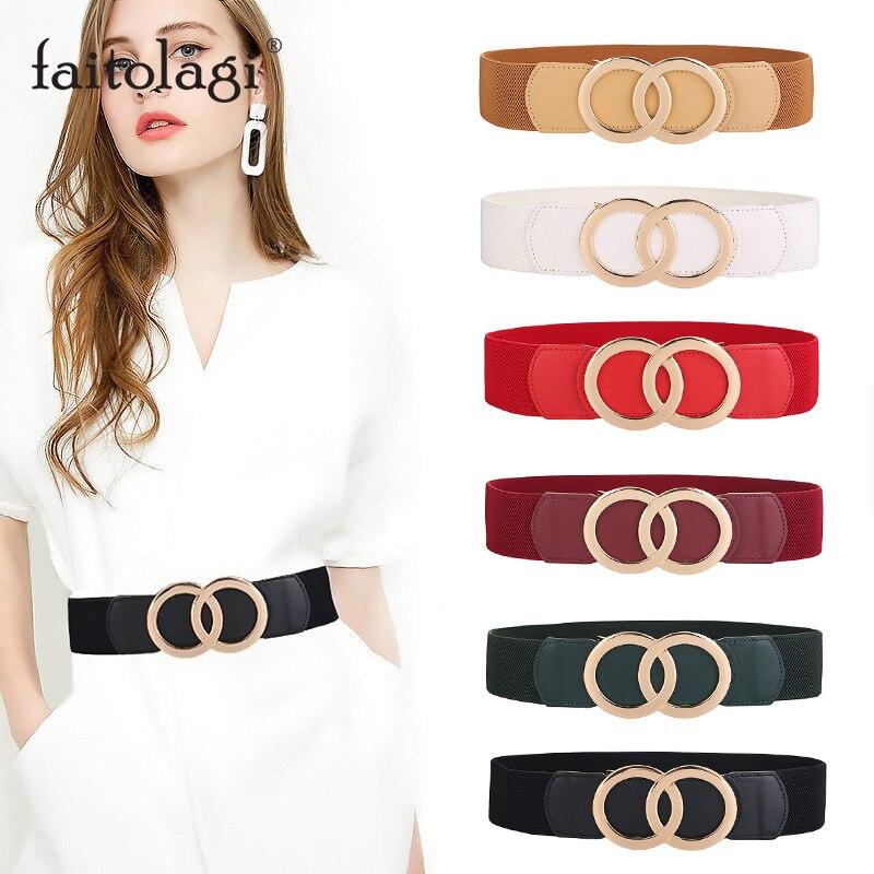 Cinturón de cuero dorado de lujo para mujer, doble anillo con hebilla, cinturón de señora para abrigo de vestir, cintura elástica femenina ancha