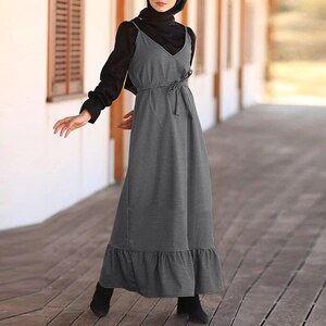 Casual A Line Suspender Dress ZANZEA Women Sleeveless Belt Sundress Ruffles Long Abaya Hijab Dress Vestido Islamic Clothing 5XL