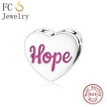 FC bijoux ajustement Original Pandora Bracelets porte-bonheur 925 en argent Sterling espoir ruban coeur perle breloques bricolage fabrication pour les femmes Berloque