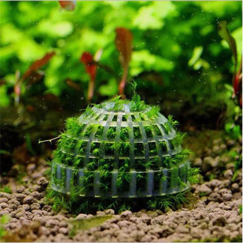 Aquário de plástico decoração plantas vivas meios do tanque de peixes musgo bola filtro para animais de estimação aquáticos bolas minerais ornamentos