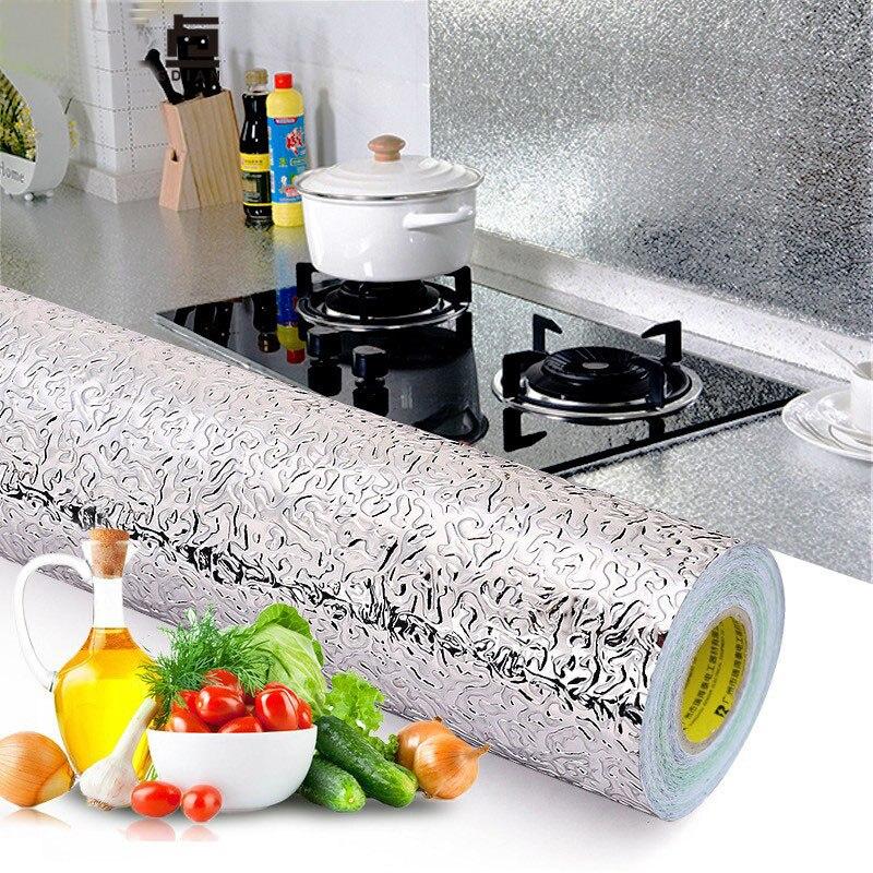 40 Вт * 100 л см кухонная алюминиевая фольга маслостойкая наклейка с противообрастающей высокотемпературной самоклеющейся наклейкой на стену