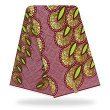 Tissu africain en coton véritable 6 mètres   Tissu imprimé à la cire, motifs africains pour vêtements africains, lot de cire pour robe de soirée